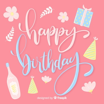 Fondo caligráfico de feliz cumpleaños colorido