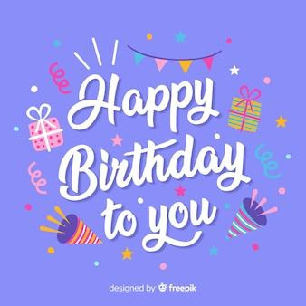 Fondo caligráfico de feliz cumpleaños con elementos