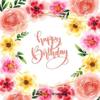 Fondo caligráfico de feliz cumpleaños con flores
