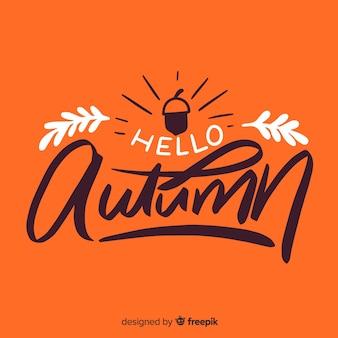 Fondo caligráfico de hello autumn con hojas