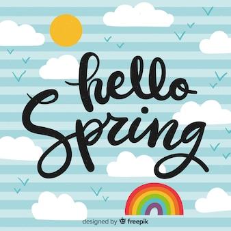 Fondo caligráfico de hello spring