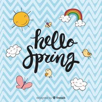 Fondo caligráfico hello spring