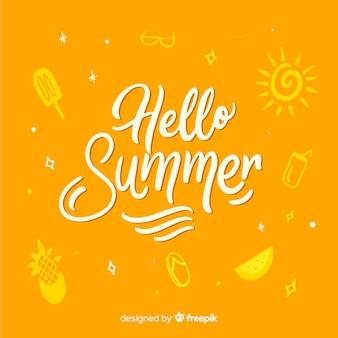 Fondo caligráfico de hello summer