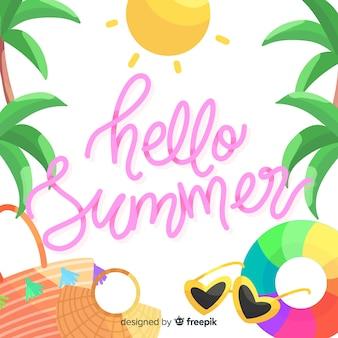 Fondo caligráfico hello summer