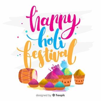 Fondo caligráfico de holi festival