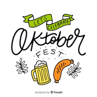 Fondo caligráfico del oktoberfest con elementos