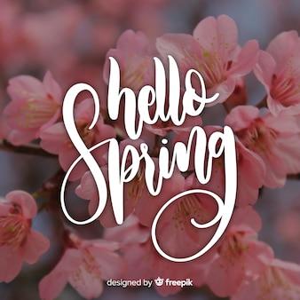 Fondo caligráfico de primavera con fotografía
