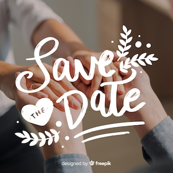 Fondo caligráfico de save the date con foto
