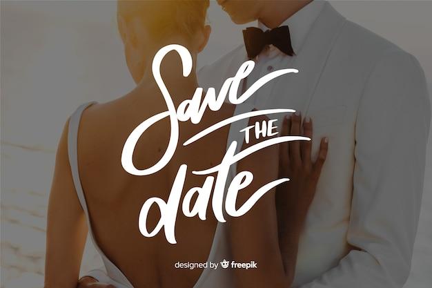 Fondo caligráfico save the date con foto