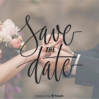 Fondo caligráfico save the date con fotografía