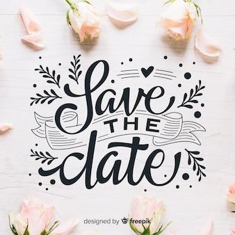 Fondo caligráfico save the date con fotografía
