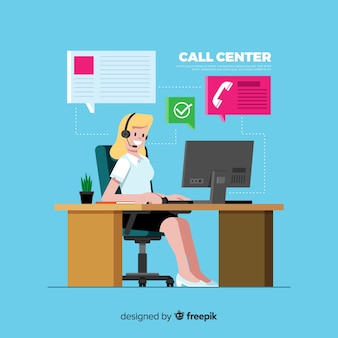 Fondo call center diseño plano