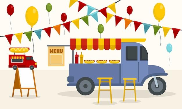Fondo de camiones de comida callejera