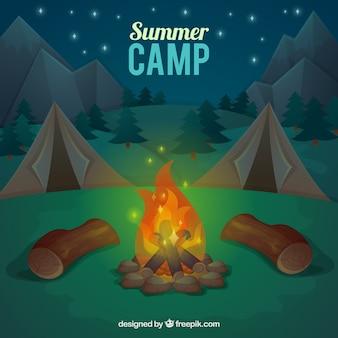 Fondo de campamento de verano con hoguera