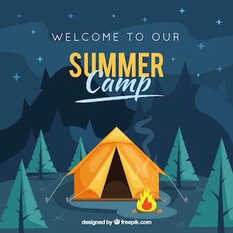 Fondo de campamento de verano con paisaje de noche