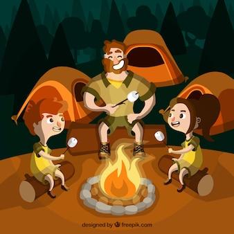 Fondo de campamento de verano con personas alrededor de una fogata