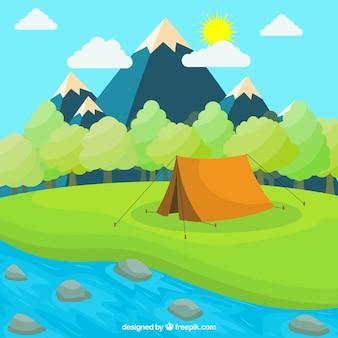 Fondo de campamento de verano con tienda al lado de rio