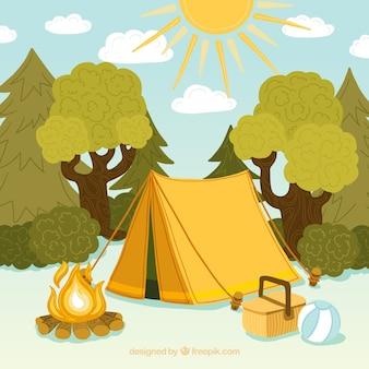 Fondo de campamento de verano con tienda y árboles