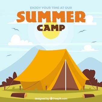 Fondo de campamento de verano con tienda de campaña grande