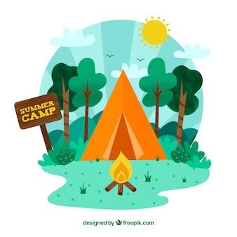Fondo de campamento de verano con tienda de campaña naranja