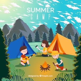 Fondo de campamento de verano