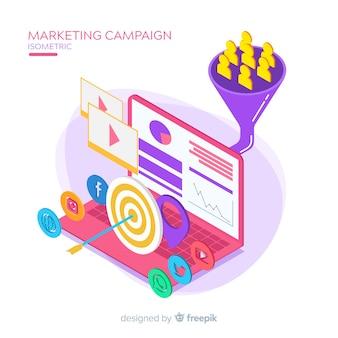 Fondo campaña márketing isométrico