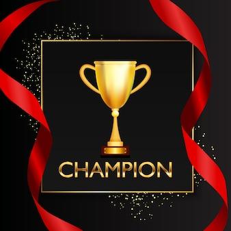 Fondo de campeón con copa de oro trofeo ganador.