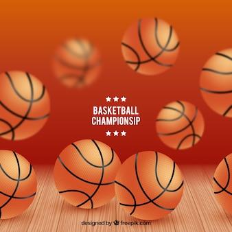 Fondo de campeonato con pelotas de baloncesto