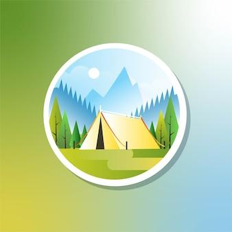 Fondo de camping al aire libre en la mañana