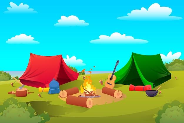 Fondo de camping, carpas de equipo de senderismo.