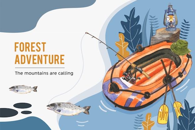 Fondo de camping con ilustración de sombrero de barco, varilla, linterna y cubo.