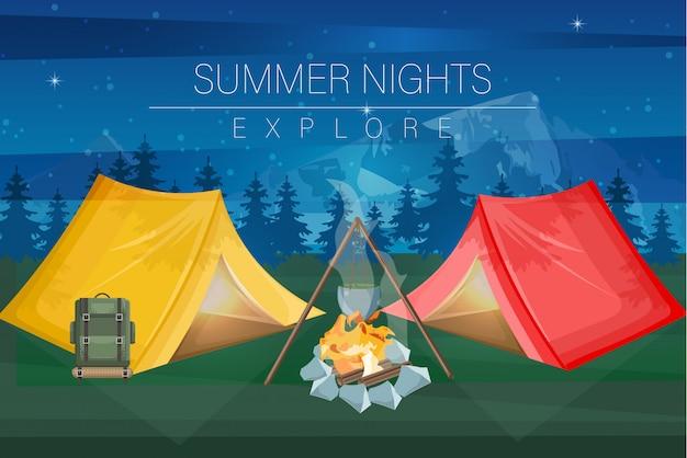 Fondo de camping nocturno
