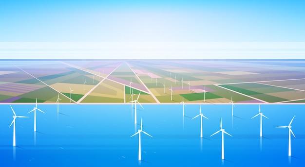 Fondo de campo de estación de agua renovable de energía de turbina eólica