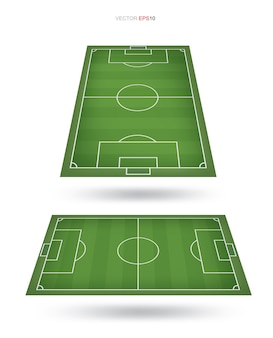 Fondo de campo de fútbol o campo de fútbol aislado en blanco