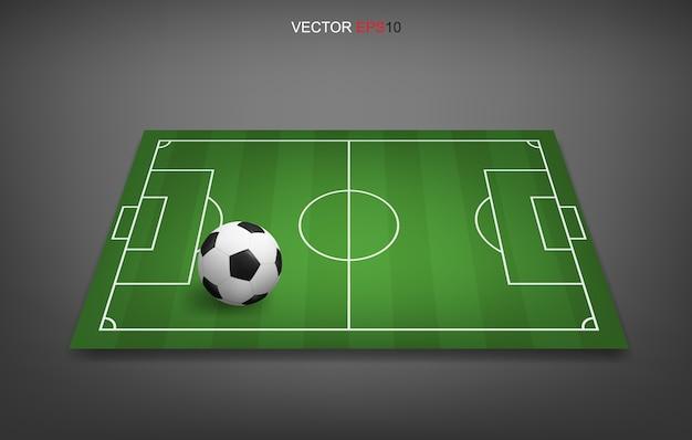 Fondo de campo de fútbol o campo de fútbol con pelota de fútbol