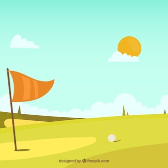 Fondo de campo de golf en estilo hecho a mano