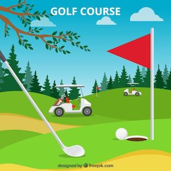 Fondo de campo de golf en estilo plano