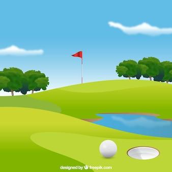 Fondo de campo de golf en estilo realista