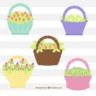Fondo de canastas con flores