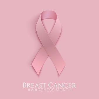 Fondo de cáncer de mama con cinta rosa. ilustración.