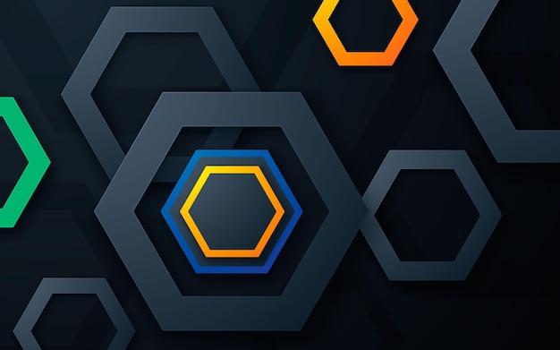 Fondo de capas de dimensión de forma de polígono moderno con luz colorida