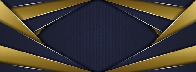 Fondo de capas de papel azul oscuro abstracto con detalles dorados