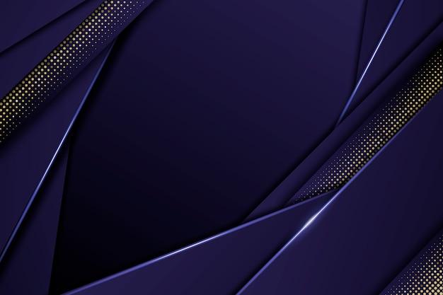 Fondo de capas de papel azul oscuro con detalles dorados