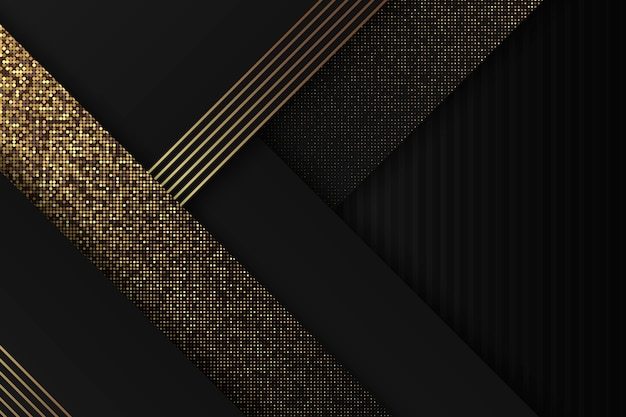 Fondo de capas de papel oscuro con detalles dorados