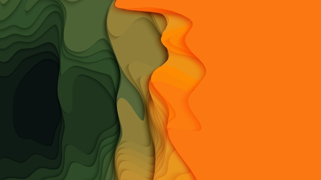 Fondo de capas de papel verde a naranja