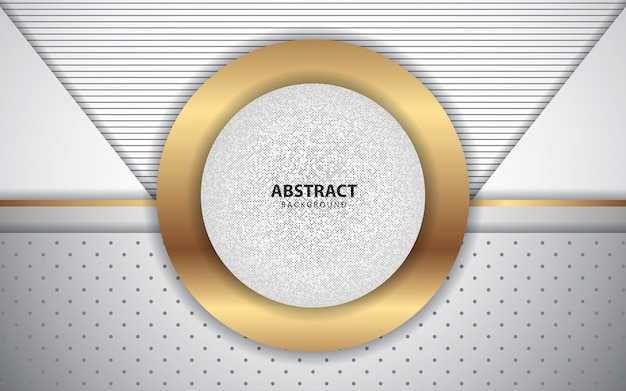 Fondo de capas de superposición blanca abstracta con decoración dorada