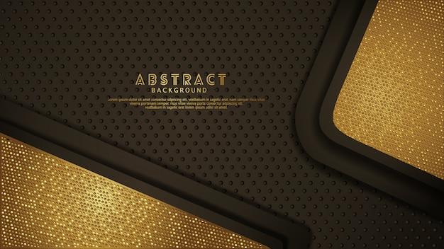 Fondo de capas de superposición de color marrón oscuro con efecto dorado brillante.