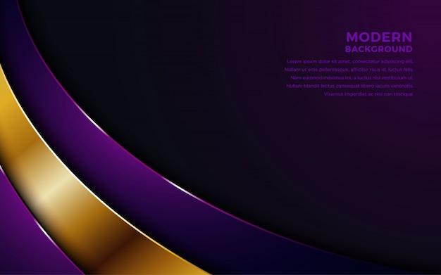 Fondo de capas de superposición púrpura con combinación de oro.