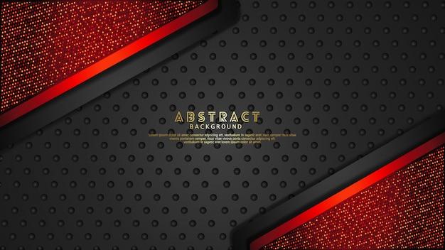 Fondo de capas superpuestas futurista y dinámico de color rojo oscuro y negro con efecto de brillo. patrón de puntos de semitono realista sobre fondo oscuro con textura