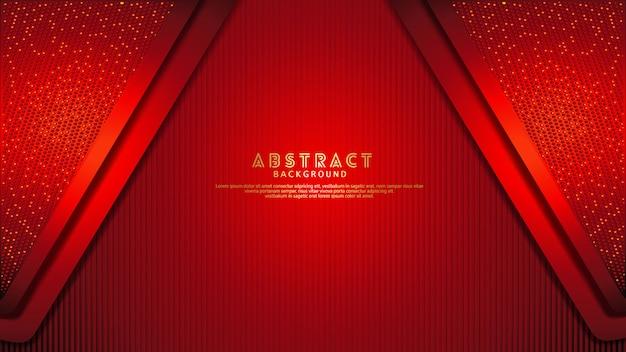 Fondo de capas superpuestas rojo oscuro futurista y dinámico con efecto de brillo. patrón de líneas verticales realistas sobre fondo oscuro con textura